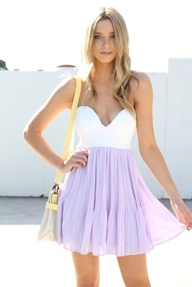 chiffon dress lavender dress lilac strapless dress