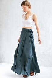 skirt,maxi skirt,wrap maxi skirt,teal,high waisted skirt