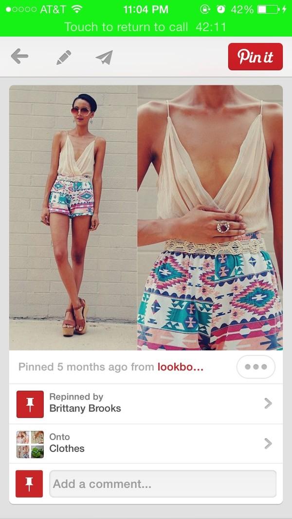 shorts romper aztec lowcut hippie boho blouse