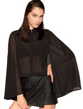 top,cape top,fall outfits,black chiffon top,black top,pre fall,trendy fashion,transitional pieces,chiffon crop top,chiffon top,cape sleeves,pixie market,batwing shirt,pixie market girl