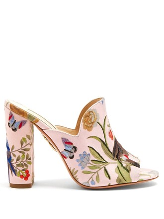 embroidered mules pink shoes