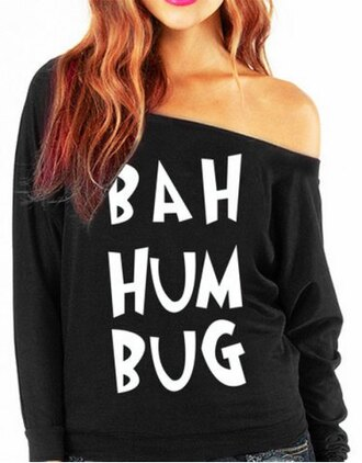 sweater black white quote on it off the shoulder long sleeves stylish skew neck letter print long sleeves sweatshirt for women fashion style casual fall outfits