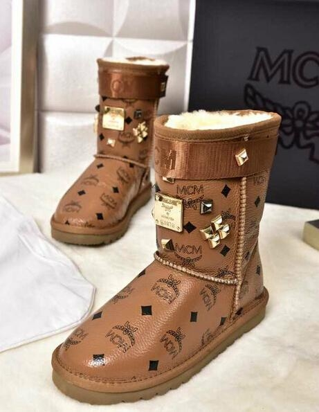 Mcm monogram snow fur boots gift box 18k gold plated leather sheepskin snow boot
