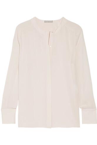 blouse white silk off-white top