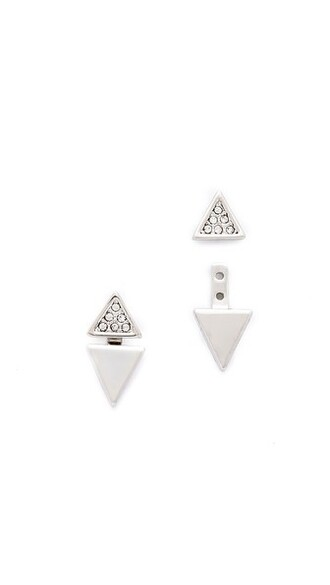 triangle clear earrings silver jewels
