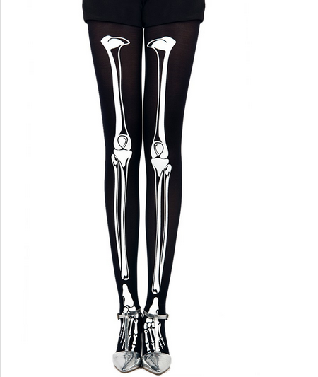 Skeleton print 80 denier velvet tights pantyhose