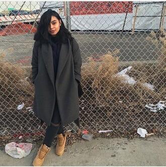 coat grey long wool coat