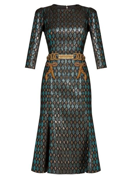 Dolce & Gabbana dress midi dress embroidered midi jacquard green