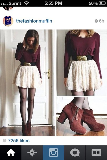 skirt shoes white lace skirt belt long sleeve shirt cute skirt cute floral lace in red dress boots shirt sweater