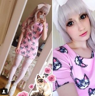 kawaii pastelbat cats tights stockings
