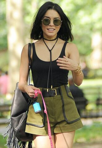 bag fringe backpack backpack black backpack shorts green shorts vanessa hudgens celebrity celebrity style top black top black tank top tank top choker necklace black choker high waisted shorts sunglasses round sunglasses summer outfits