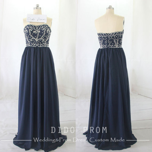 dress prom dress beaded prom dress evening dress navy blue prom dress long prom dress chiffon prom dress chiffon prom dresses bag