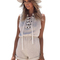 Women's casual lace up sleeveless v neck short beach sport playsuit romper