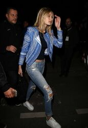 jacket,gigi hadid,h&m,paris fashion week,fashion,ripped jeans,sneakers,platform sneakers,shoes,fashion week 2015,jeans,spring jacket