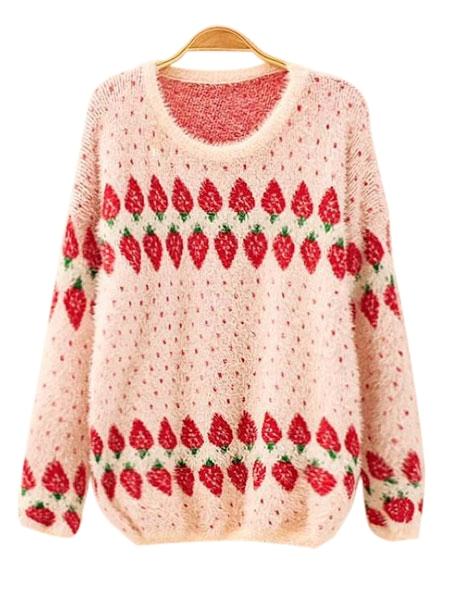Fluffy Strawberry Patterns Sweet Loosen Long Sleeve Sweater - CA$18.86