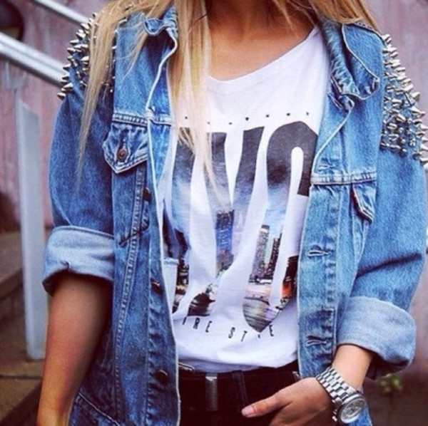 jacket denim spikes hott