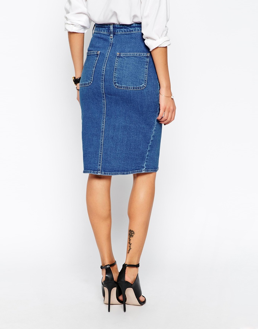 Split Front Denim Midi Pencil Skirt at asos.com
