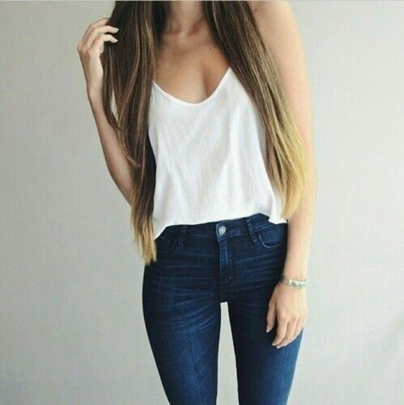 jeans top t-shirt blouse long hair spring white singlet white tank top navy denim outfit white