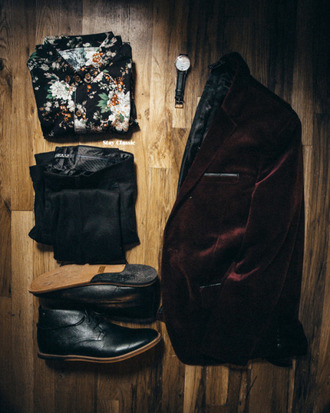 stay classic blogger hipster menswear floral shirt mens shoes velvet menswear mens blazer mens derby shoes mens tuxedo