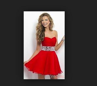 dress semi formal red strapless