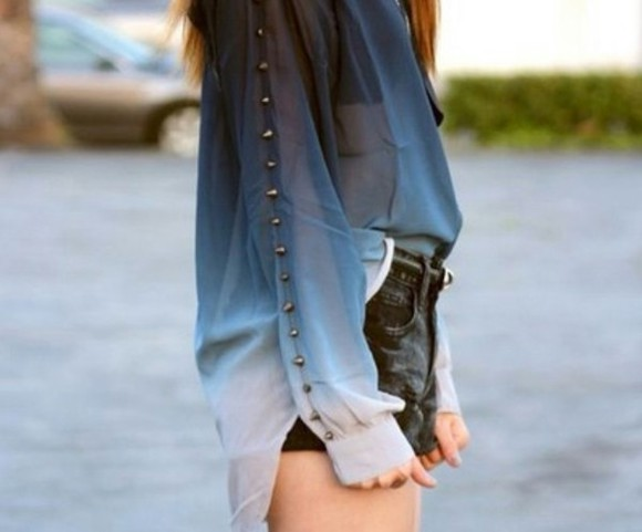 button up blouse cute studs sheer blue shirt long sleeve fade white t-shirt ombre top