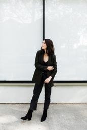 jacket,tumblr,blazer,grey blazer,top,black top,denim,jeans,black jeans,boots,black boots,ankle boots