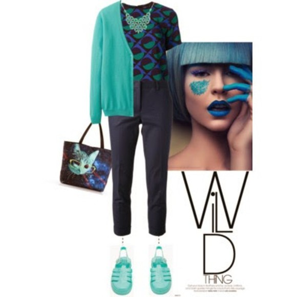 sweater wild bleu verte sac bijoux sandals