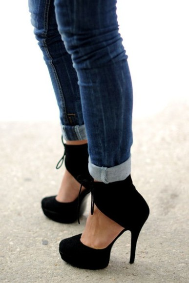 shoes low boots high heels straps ankle black shoes Gloria Ortiz black fashion week 11 black heels black high heels