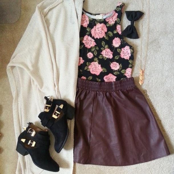 dress floral dress cardigan aztec