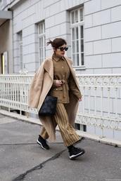 pants,striped pants,coat,camel coat,jacket,sneakers,black sneakers,wide-leg pants