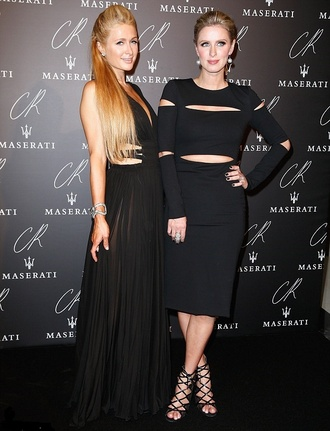 black dress fashion week 2014 nicky hilton paris hilton little black dress