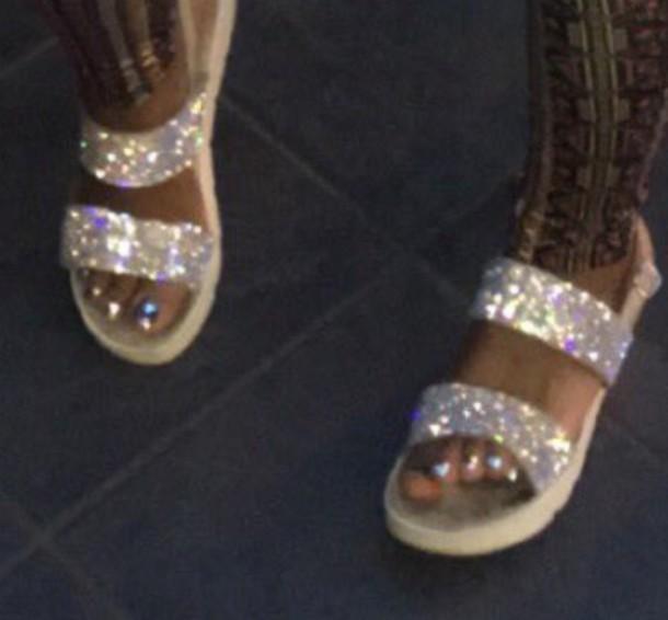 shoes sparkle sandals cute glitter shoes flatform sandals
