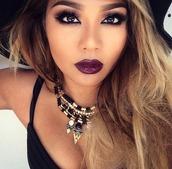 make-up,jewels,necklace,statement necklace,choker necklace,gold,fantasy,heart arrow necklace,purple,purple lipstick,lipstick,lashes,eye makeup,smokey,smokey eye