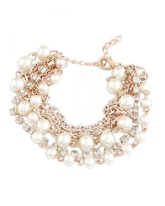 jewels rhinestone bracelet bracelets pearl rhinestones jewelry white jewels crazeemania youngandforever