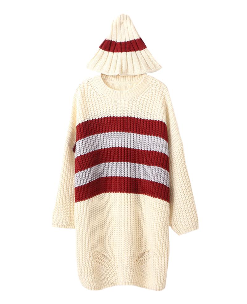 Intarsia loose long knit sweater