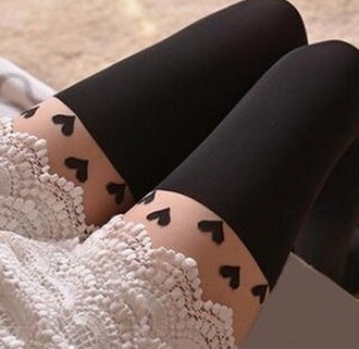 tights doublelw leggings clothes hearts tights black tights fashion style tumblr outfit