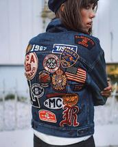 jacket,tumblr,denim jacket,denim,blue jacket,patch,patched denim