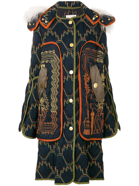 Peter Pilotto coat long women quilted cotton blue
