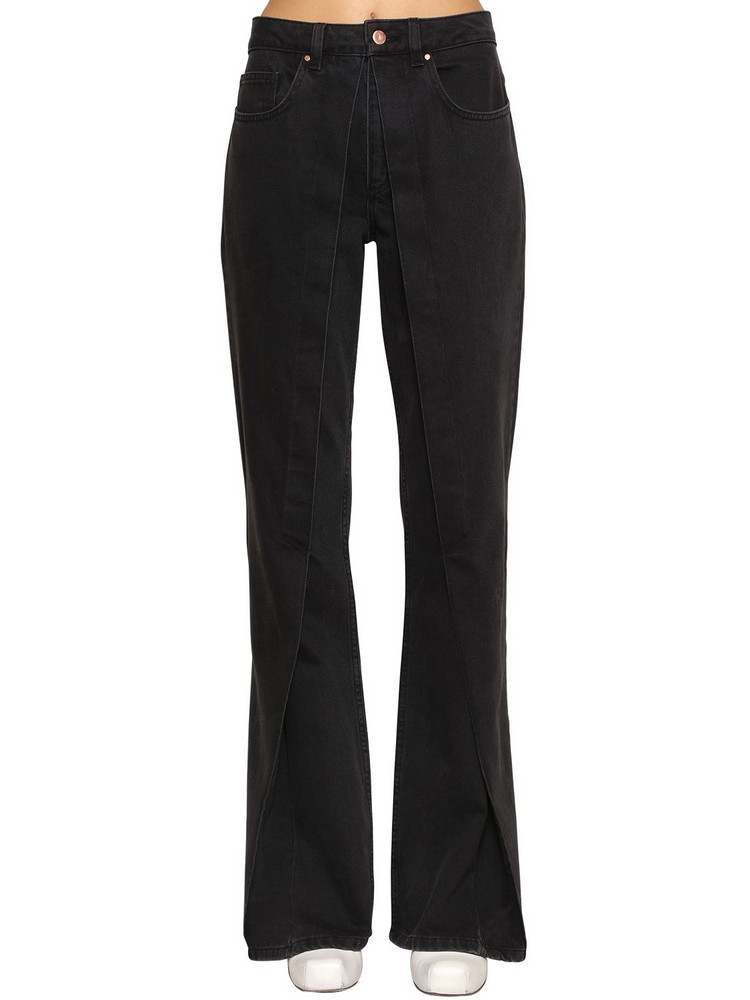 AALTO Fixed Pleats Flared Denim Jeans in black