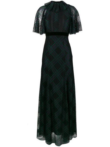 dress sheer ruffle women black