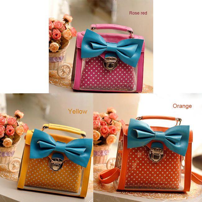 [grhmf22000103]Candy Dot Print Bowknot Handbag Shoulder Bag