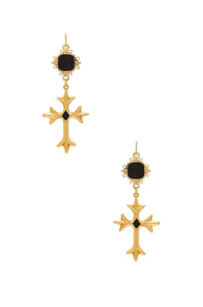 Vanessa Mooney cross earrings metallic gold jewels