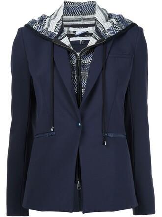 blazer layered blue jacket