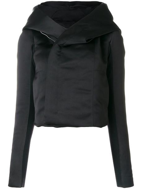 Rick Owens jacket hooded jacket women cotton black silk