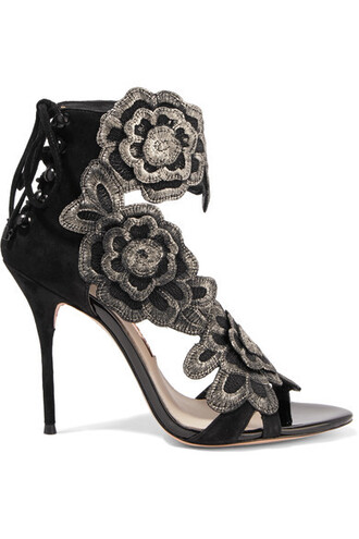 embroidered sandals suede black shoes