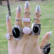 nail accessories,the iced sugar cookie,nails,silver nails,boho nails,boho chic nails,boho chic,bohemian,boho midi rings,silver midi rings,turquoise midi rings,silver ring,ring,black rings,pink rings,pink,black,coachella,coachella 2016,coachella rings,fashion,statement ring,cute rings,summer,hipster,hippie,jewelry,jewellery rings,jewellry,tribal pattern,tribal rings