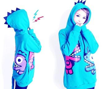 jacket hoodie blue kawaii rawr japanese korean ulzzang anime dinosaur dragon cute