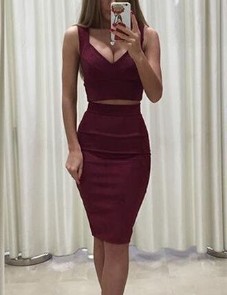 skirt skater skirt mini skirt pencil skirt set two piece dress set sexy matching set 2 piece skirt set streetwear elegant burgundy burgundy top burgundy skirt