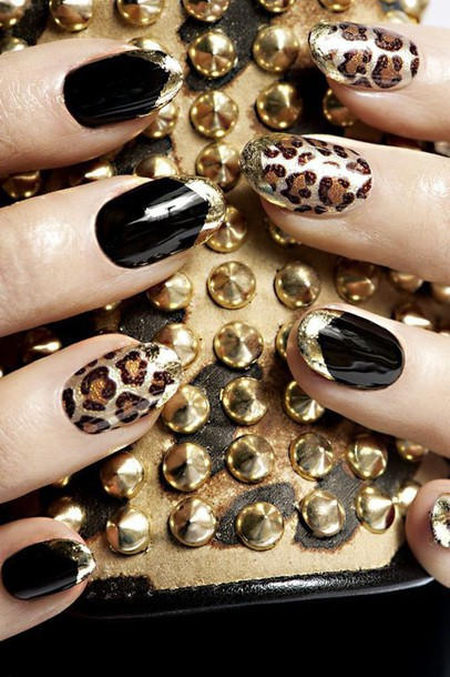 Nail accessories: nail polish, bling, leopard print ...