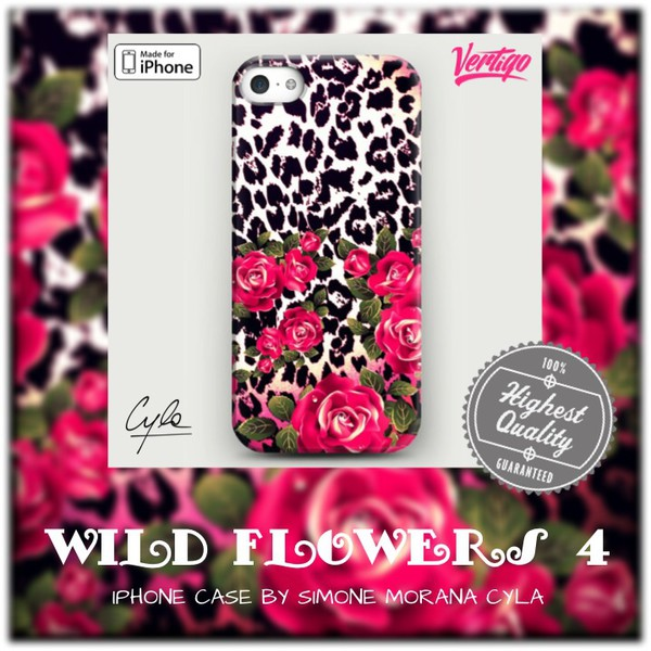 jewels fashion girly flowers iphone case leopard print